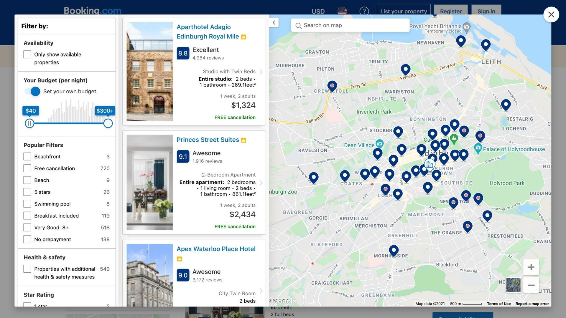 A map of different hotels and a sidebar with additional hotel information.
