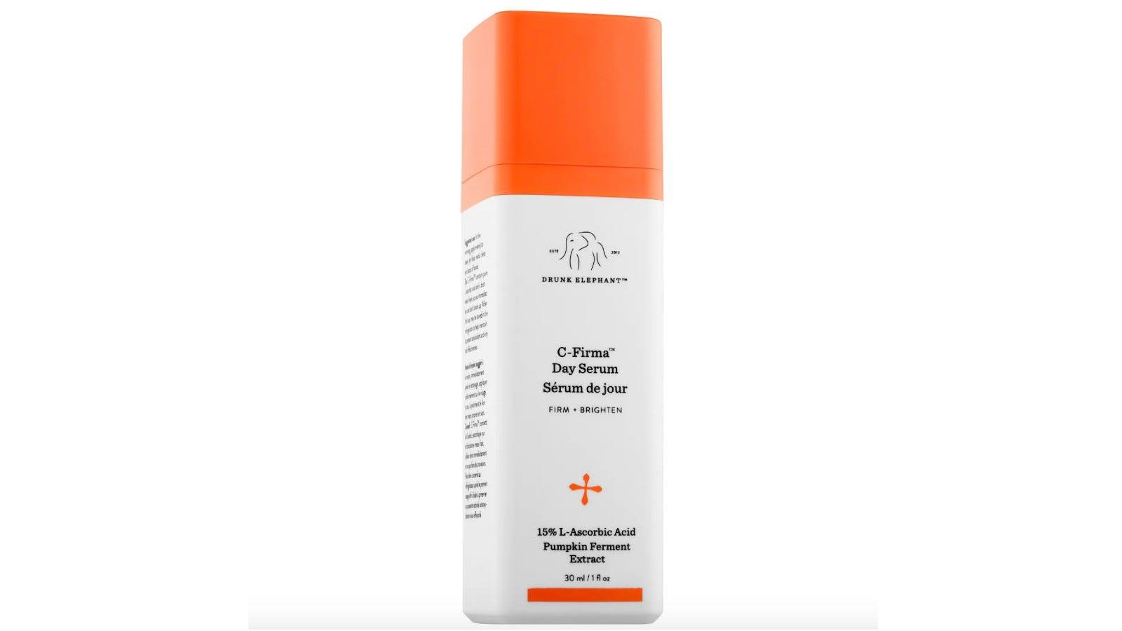 orange and white bottle of Drunk Elephant serum