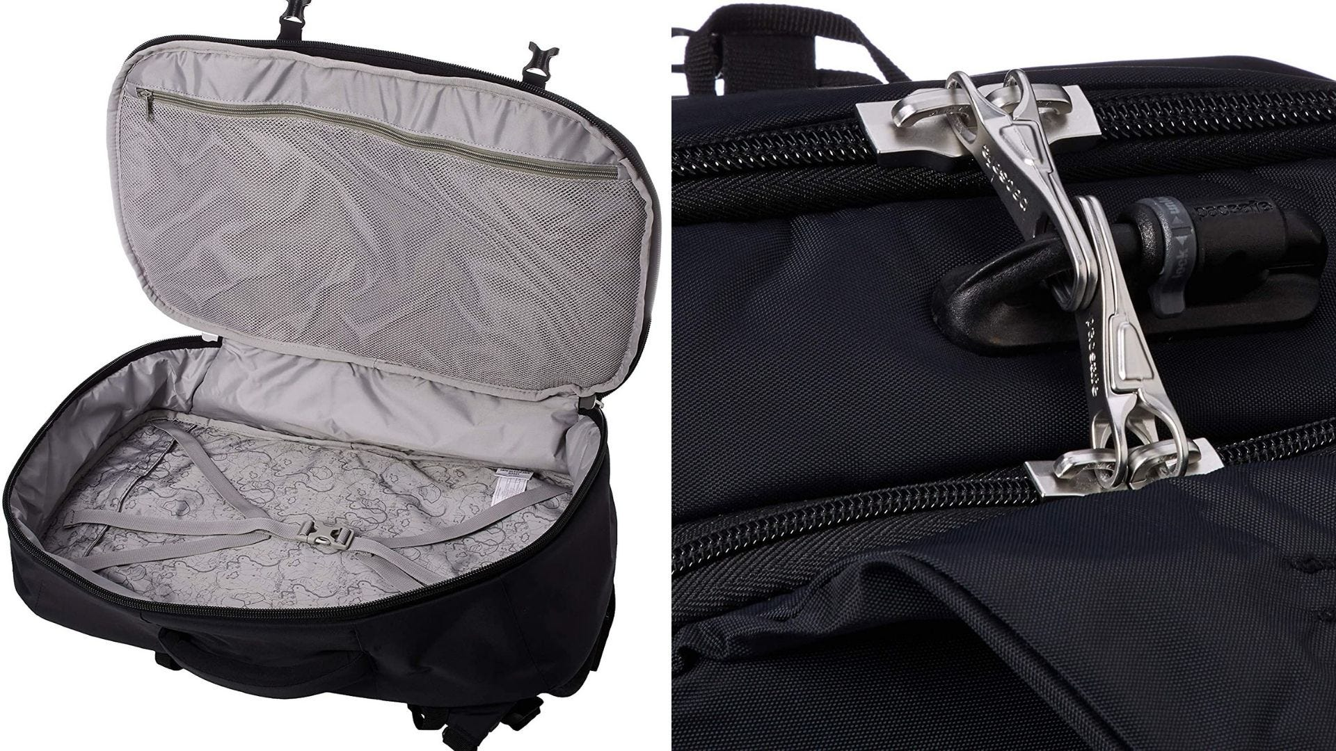 A backpack opened like a suitcase and a close up view of two zippers locked together