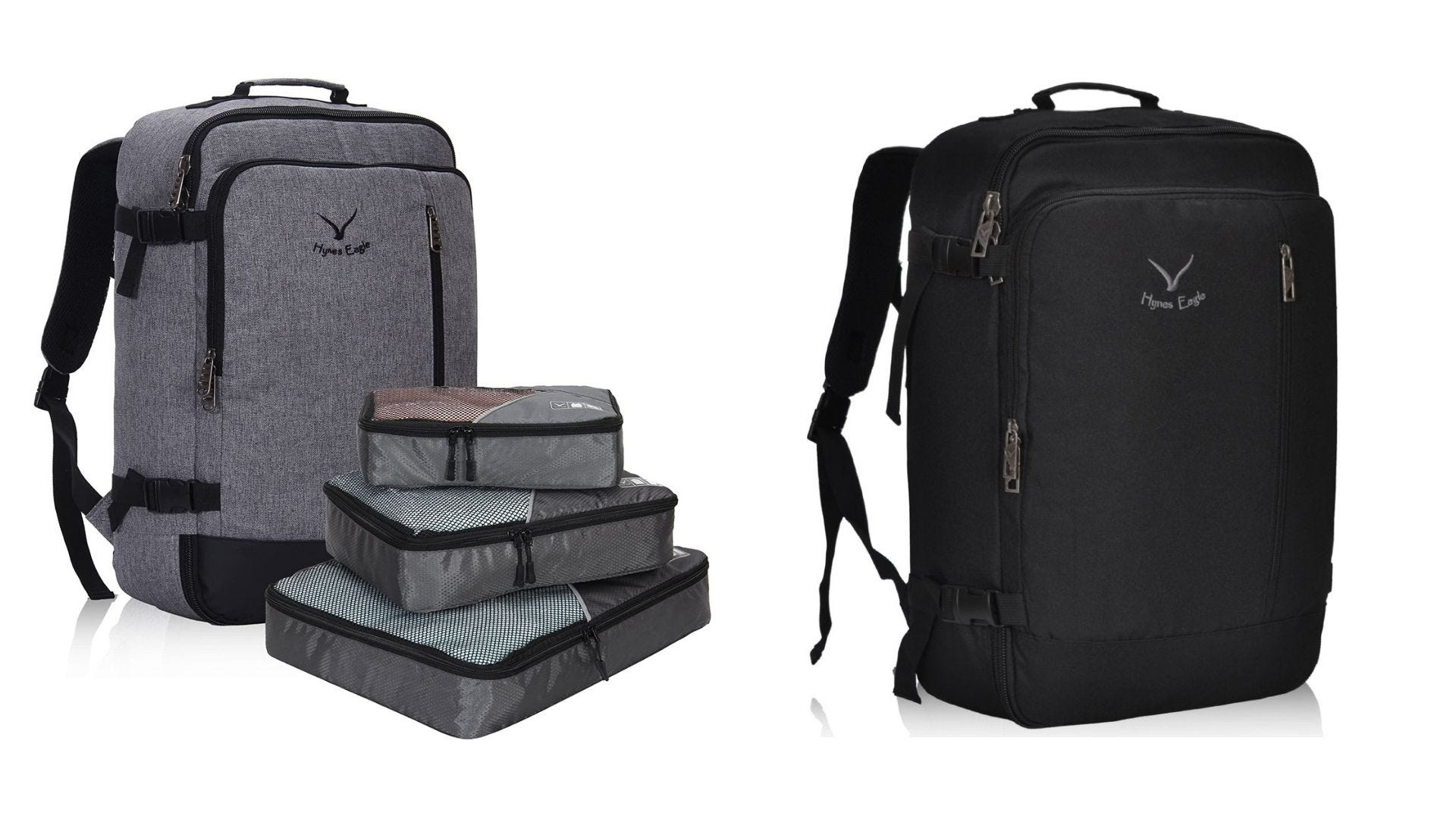 A gray backpack with packing cubes and a black backpack on a white background