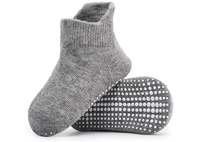 gray baby socks with white anti-slip bottom dots