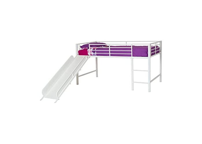 white toddler bed with purple blanket and slide