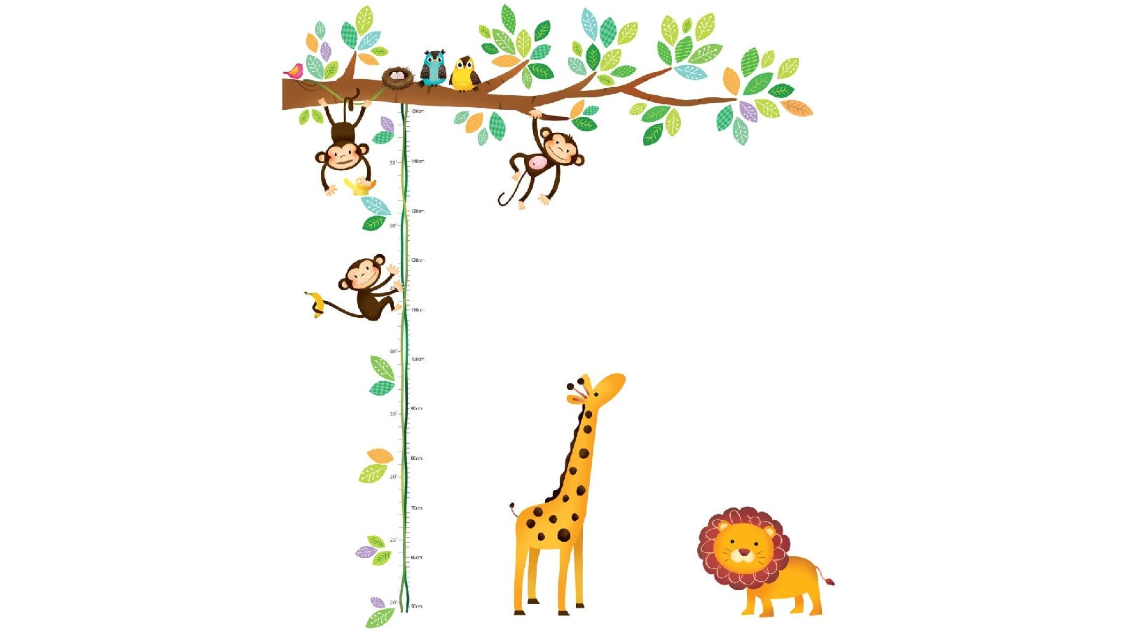 A jungle-themed growth chart that features a tree branch, three monkeys, two birds, a giraffe, and a lion.