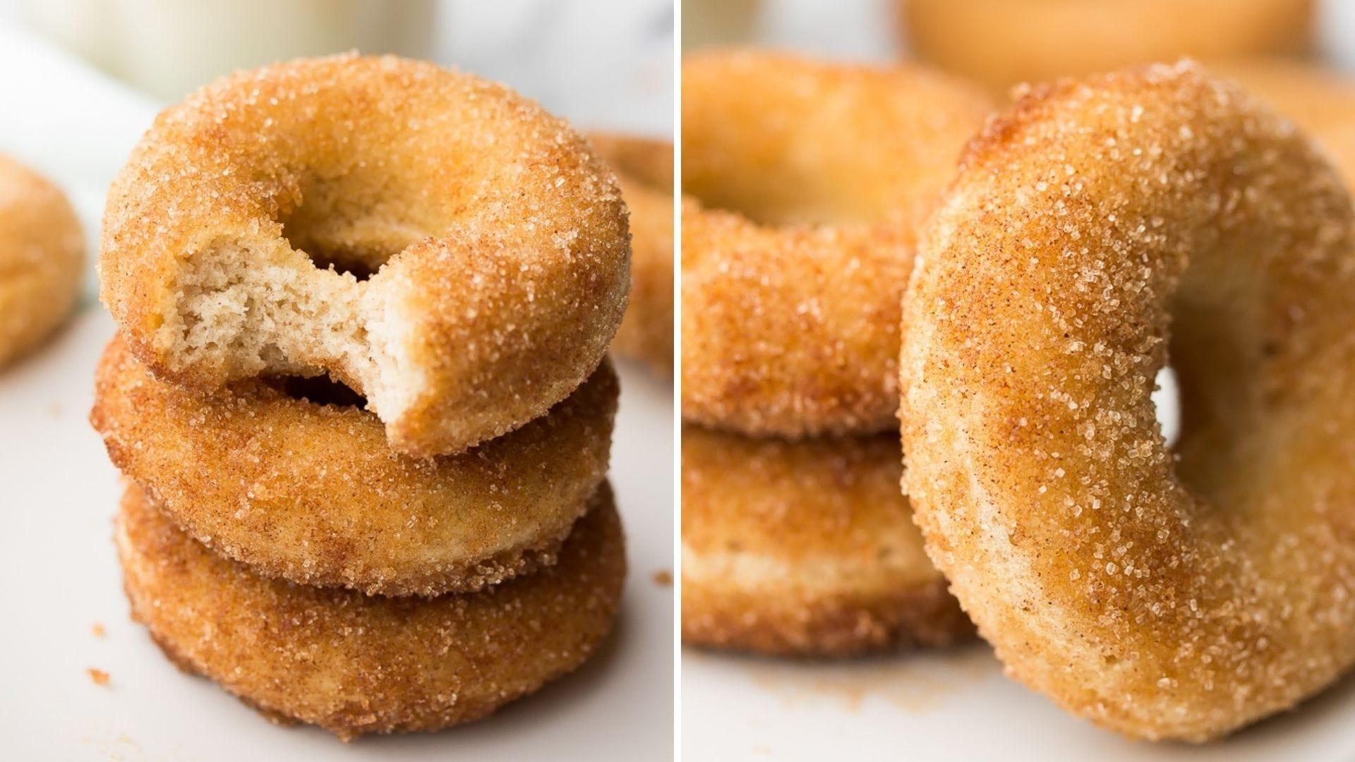Two piles of cinnamon sugar doughnuts