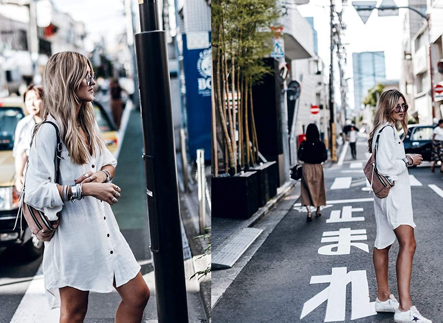 Two images of a woman in a white shirt-dress on the street
