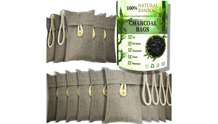 15 small gray bags with bamboo charcoal inside