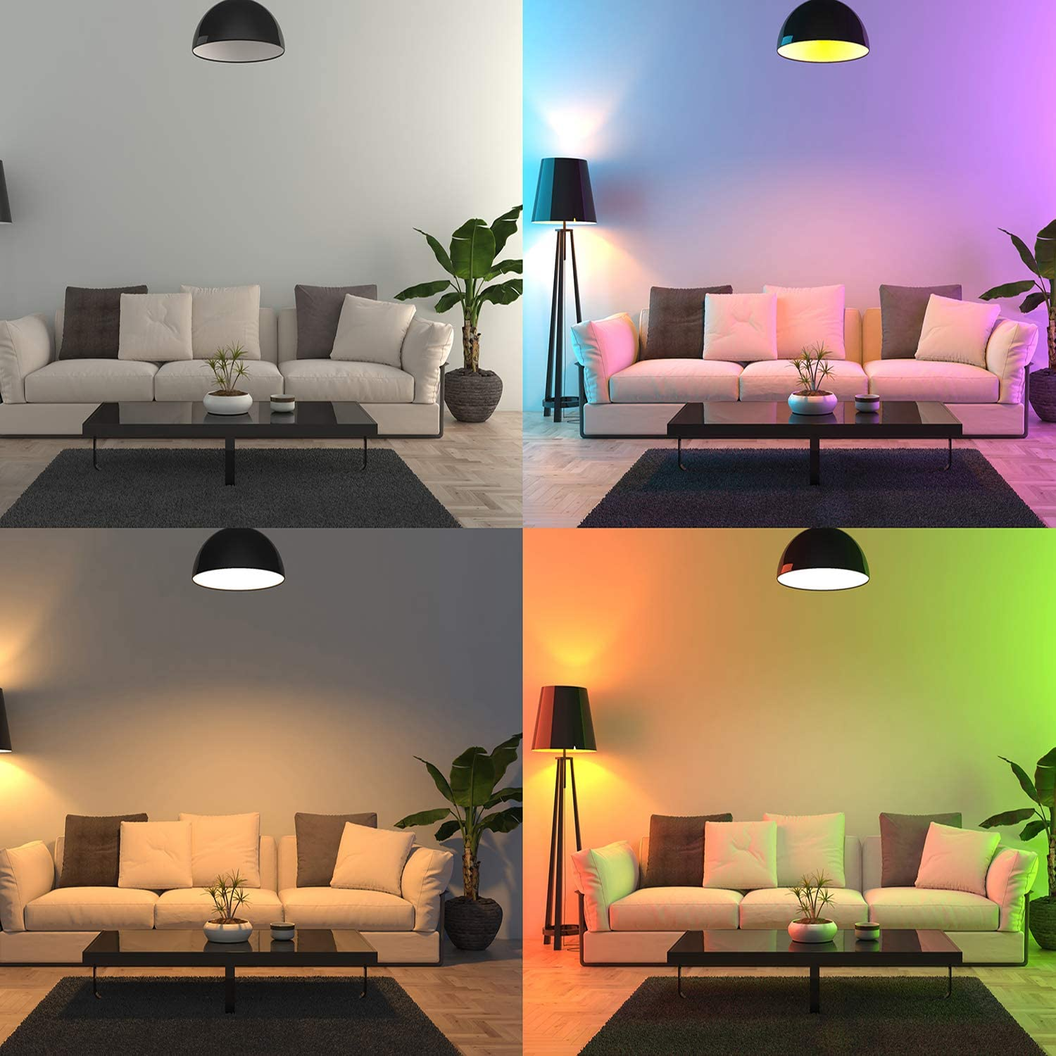 The same living room lit in four different colors by Vgogfly color-changing light bulbs.