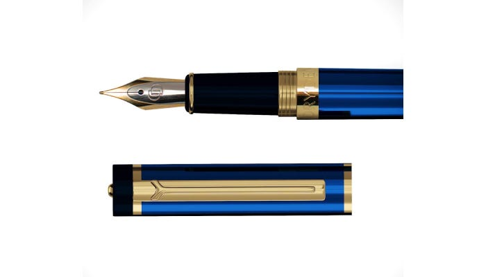The cap and nib of a blue and gold fountain pen.