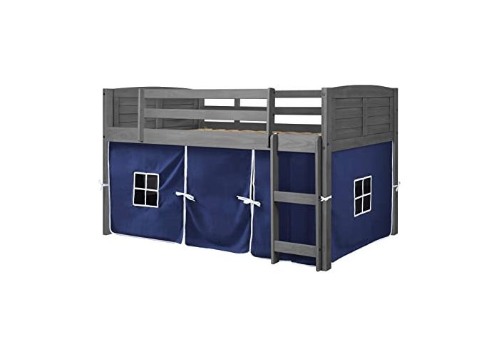 gray loft toddler bed with blue tent beneath