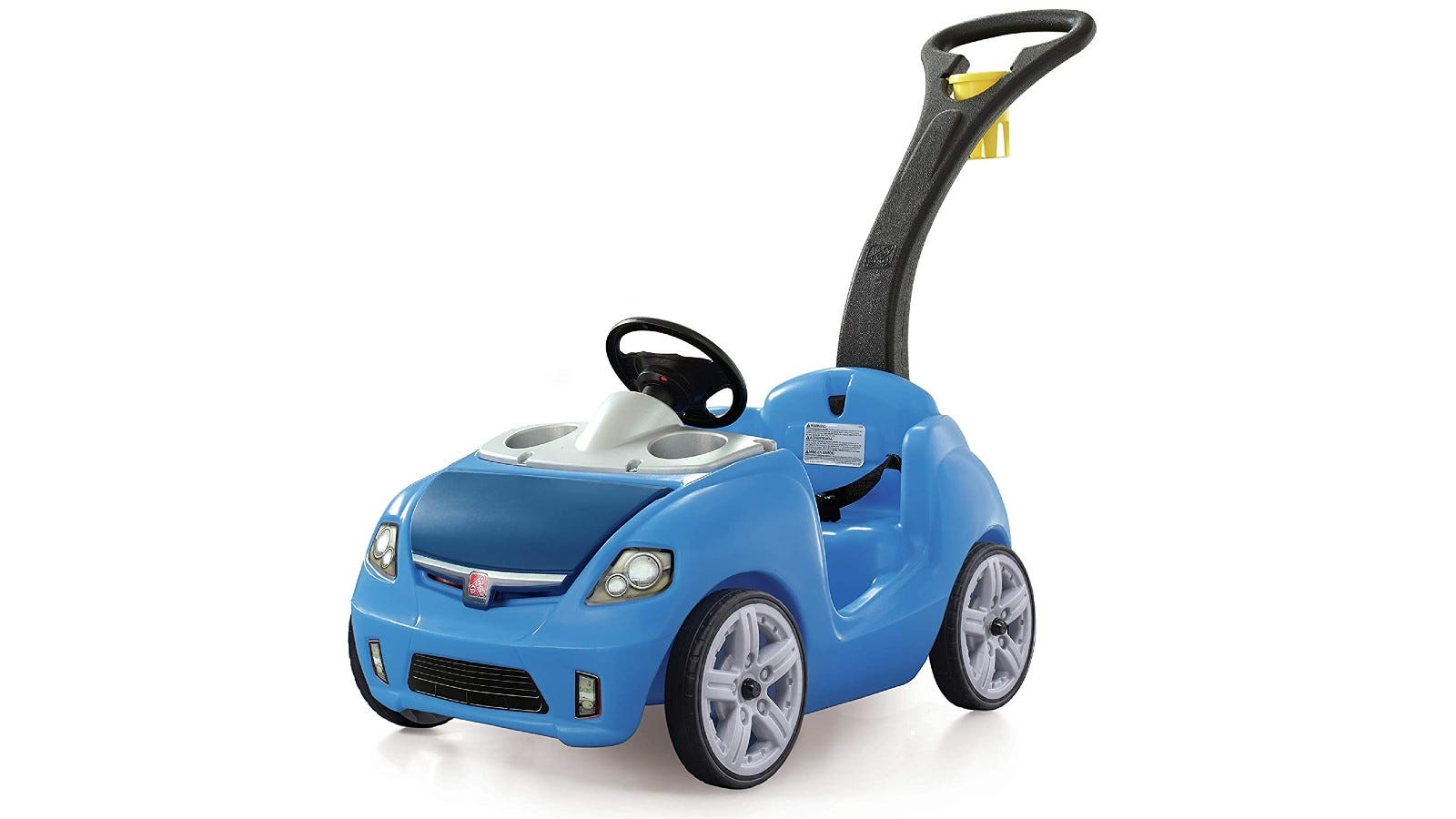 A blue push car for toddlers.