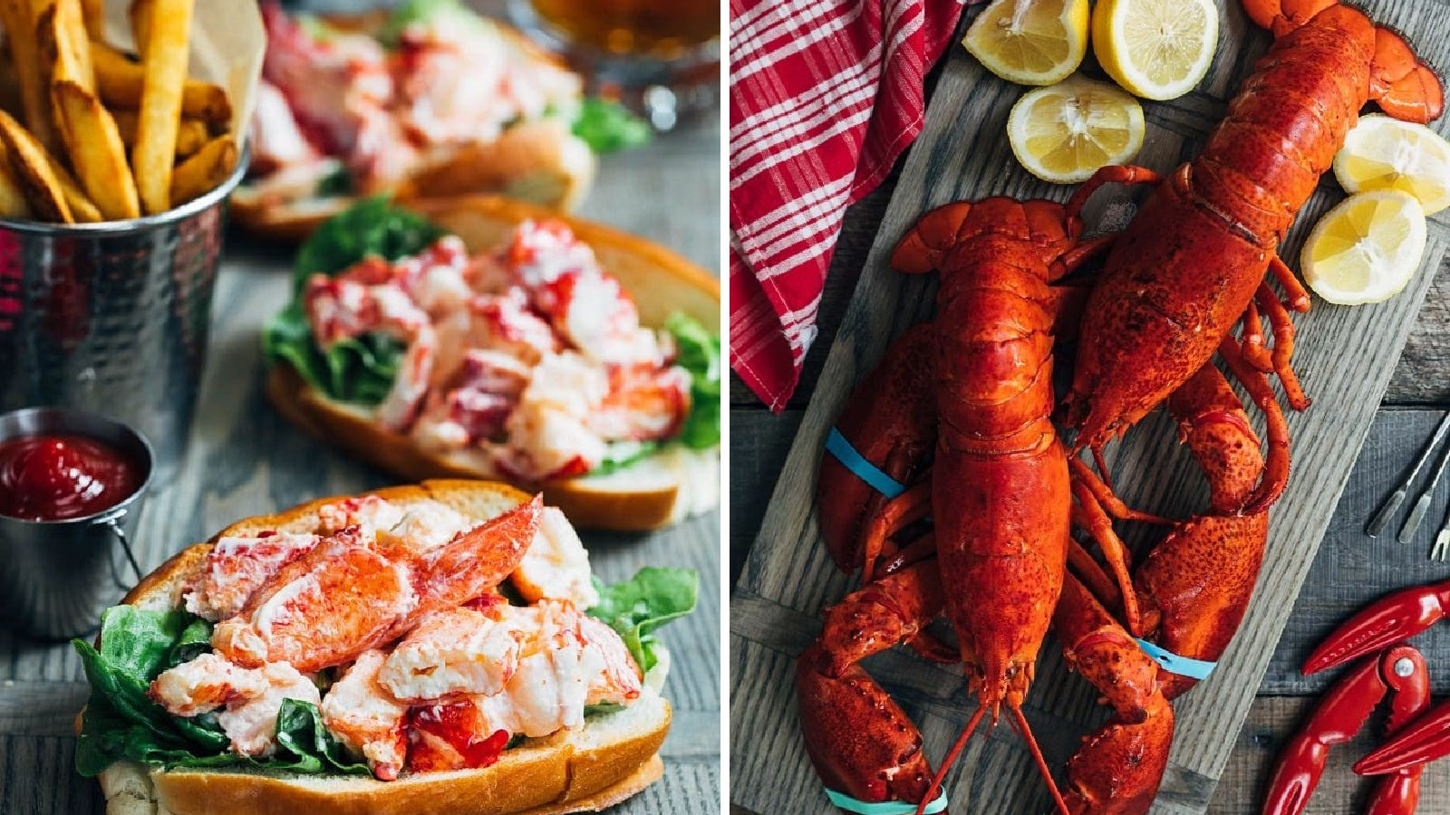 Two images: The left image is of cold Maine lobster rolls served with French fries, and the right image is of two Maine lobsters freshly steamed, and ready to eat.