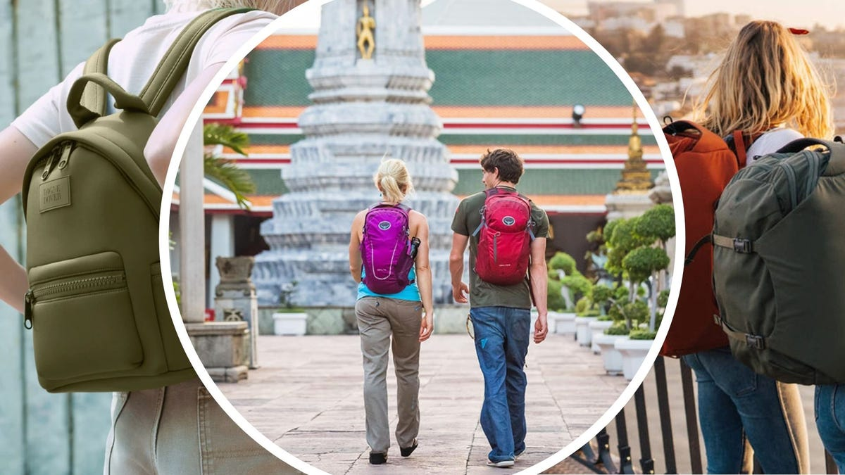A woman wears a small backpack, two people walk in Asia with backpacks on, two girls with backpacks sightsee