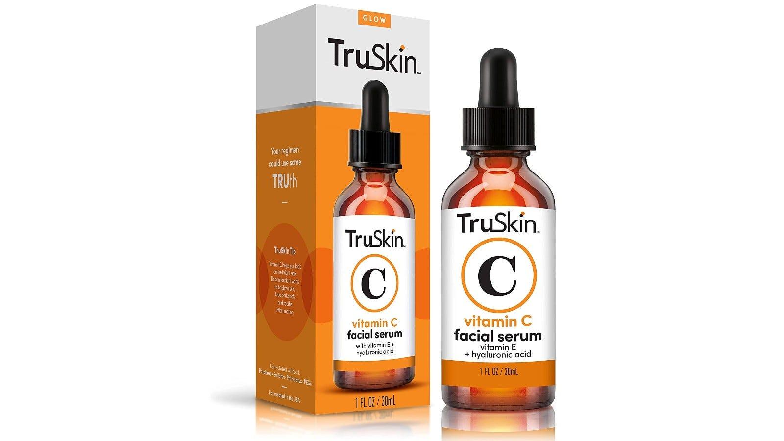 bottle of TruSkin serum next to the box