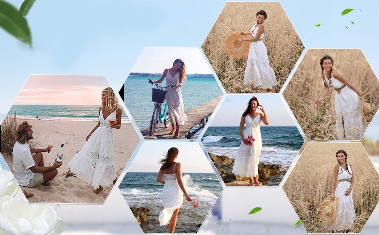 A set of hexagonal images showing women wearing a long spaghetti strap white dress