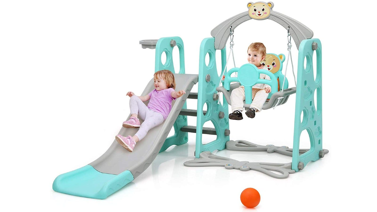 turquoise and gray play set with a slide and swing with two kids playing on it