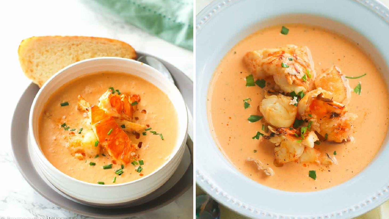 Two side by side images featuring warm lobster bisque topped with chunks of lobster.