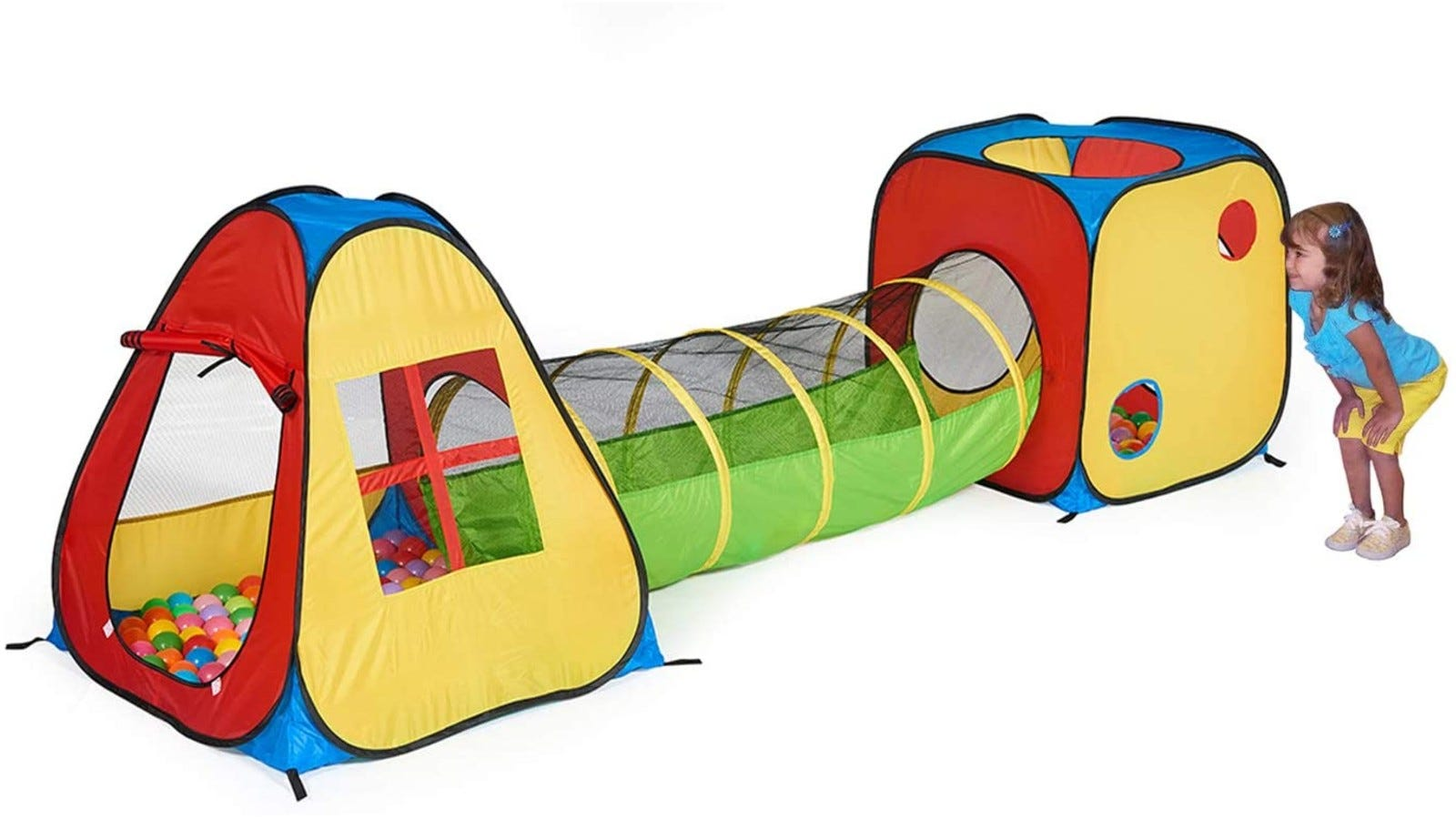 colorful play tent with a ball pit and a long tunnel with mesh windows