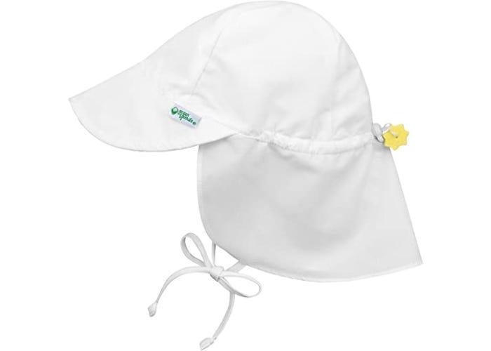 displayed white baby sun hat with drawstring