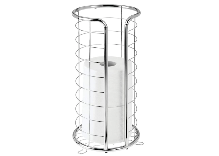 a floor-standing cylindrical, open, wired chrome toilet paper holder with two stacked roll of toilet paper inside