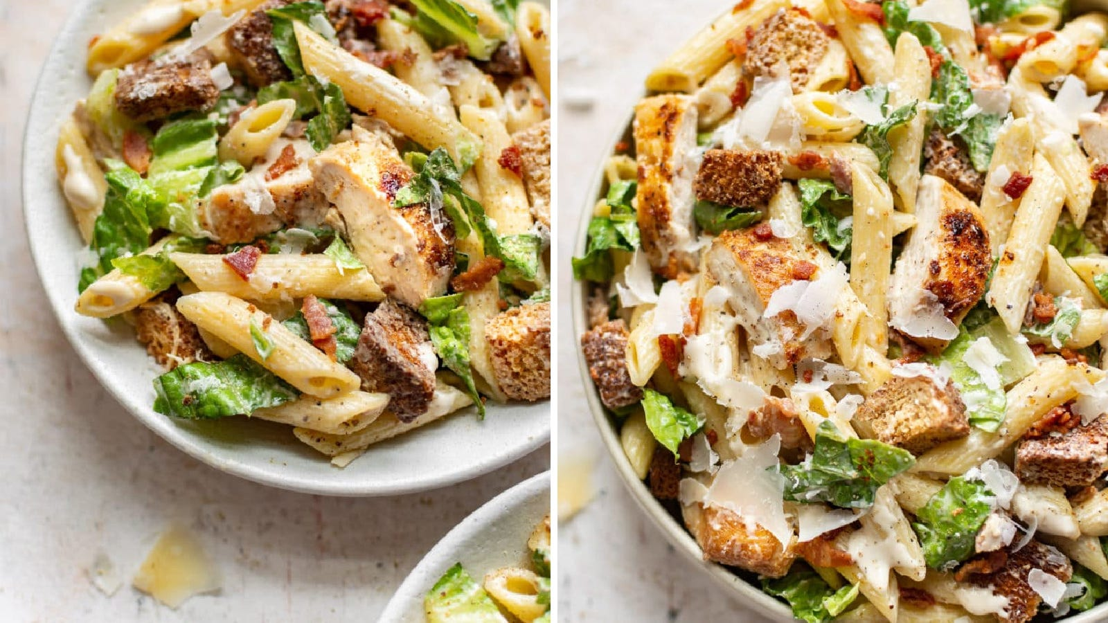 Two images of chicken Caesar pasta salad.