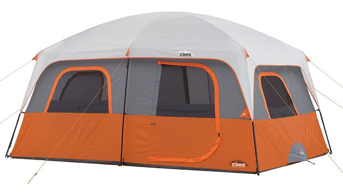 a large orange and gray tent with a white rainfly
