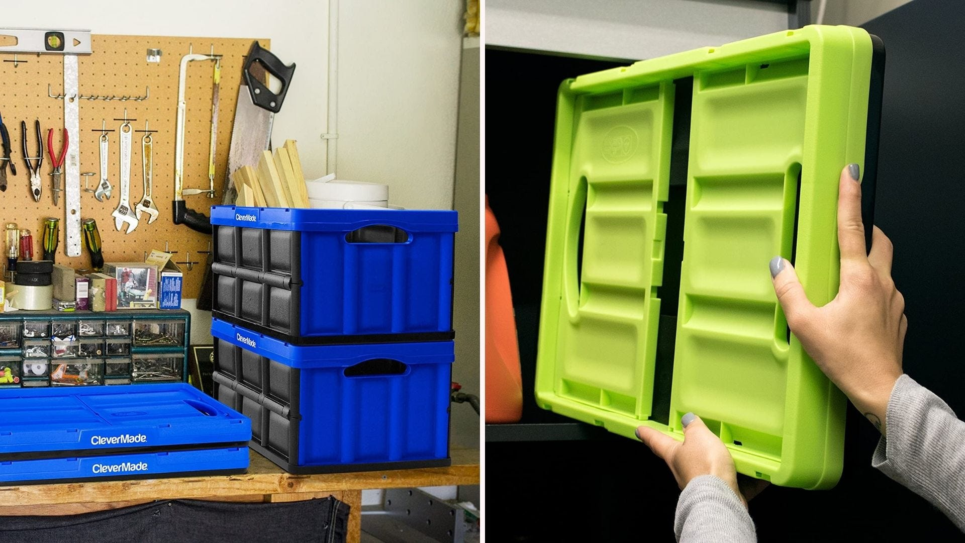 Collapsible bins for storing stuff.
