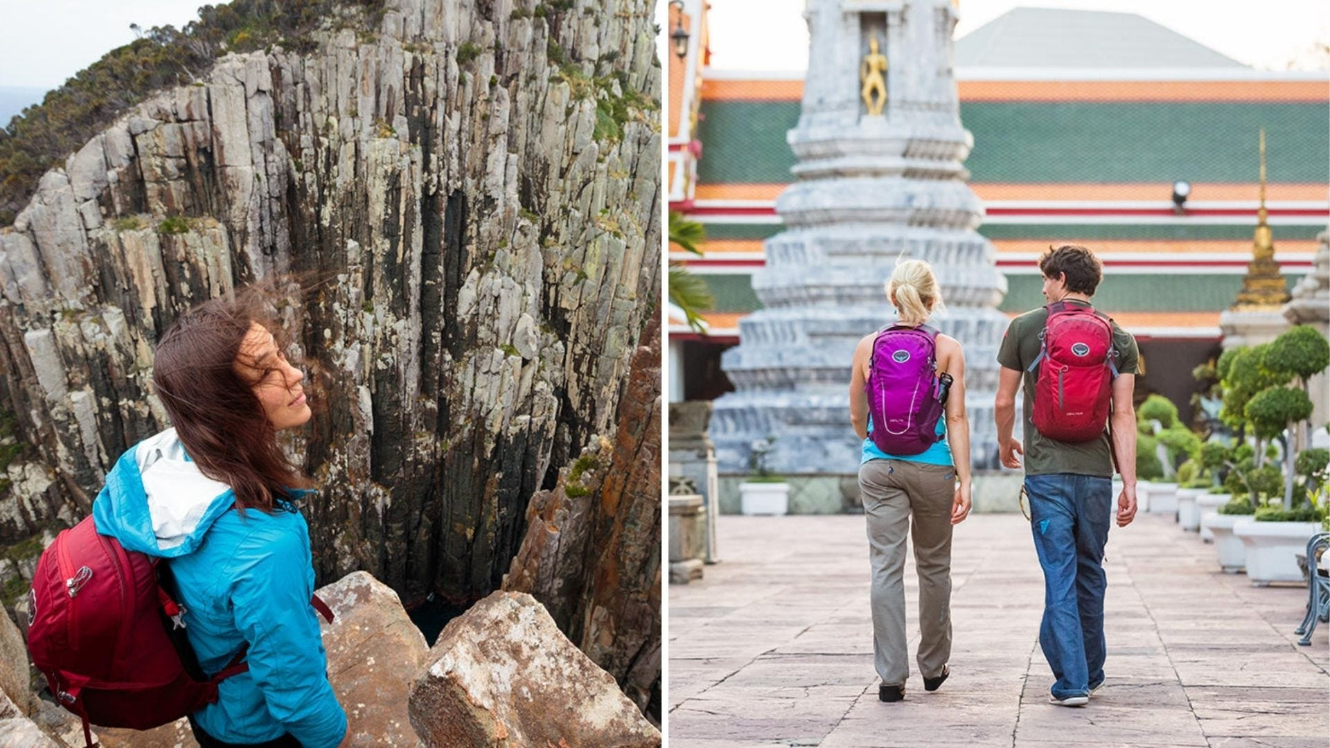 A girl looks out at mountains and two people walk in Asia with backpacks on