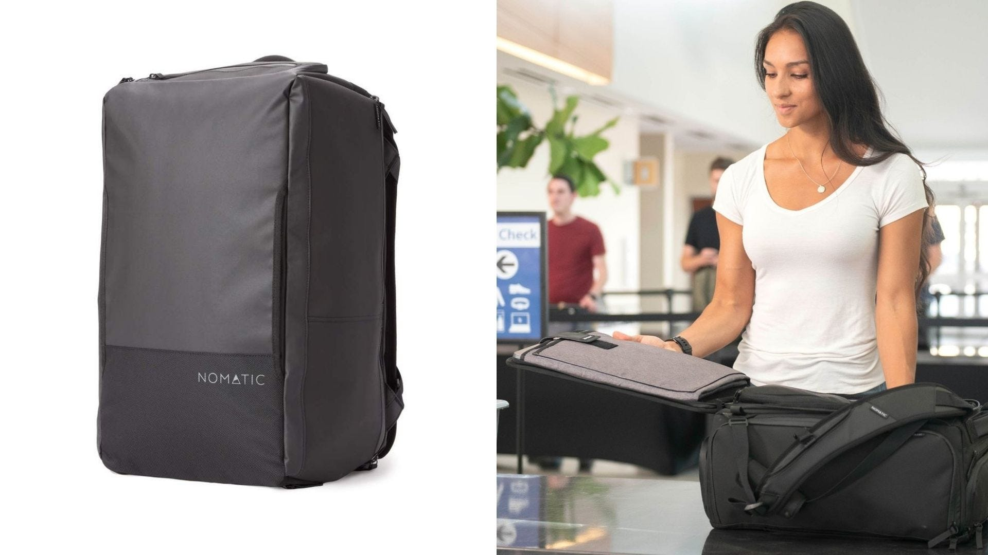 A gray travel backpack and a woman opens the backpack