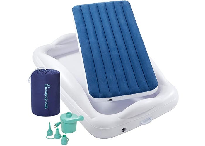 displayed inflatable toddler bed with pump, bag, and bumper frame
