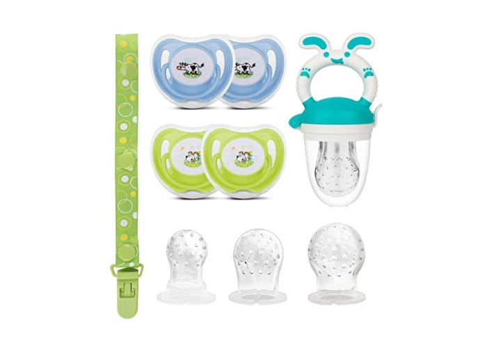 A set with pacifiers, strap, teether nipples, and green strap.