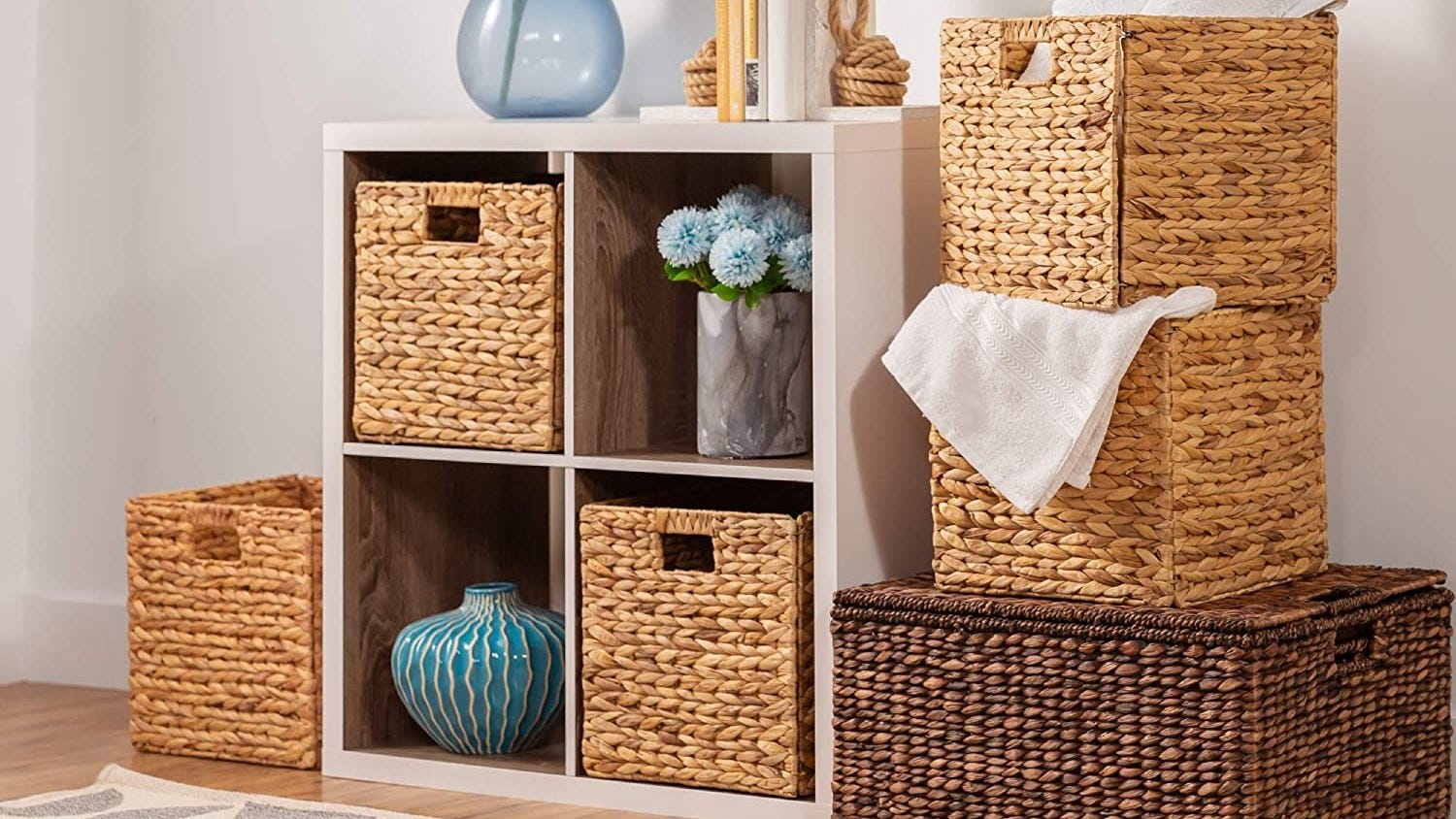Cubicle shelving with wicker storage bins.