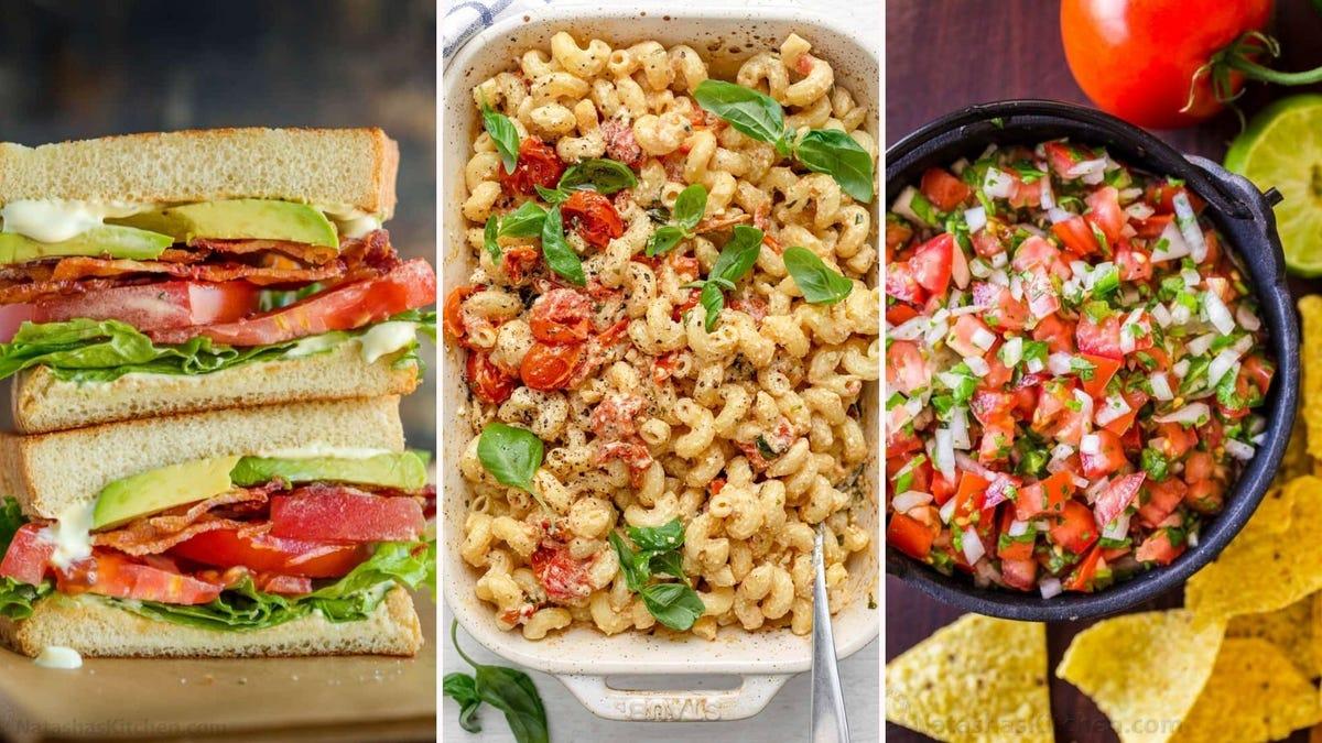 A BLT by Natasha's Kitchen, baked feta pasta by Feel Good Foodie, and Pico de gallo by Natasha's Kitchen.
