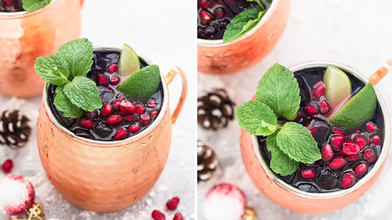 Two images of a pomegranate mule mug, in two different angles garnished with perils, lime wedges and mint leaves.