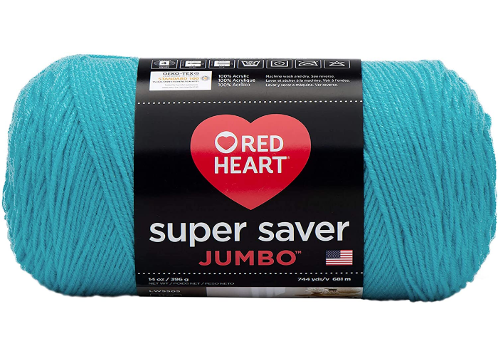 red heart super saver jumbo teal yarn skein