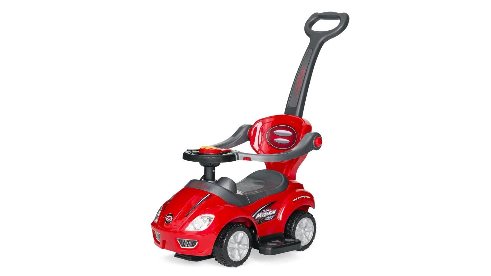A red and gray pushcar.