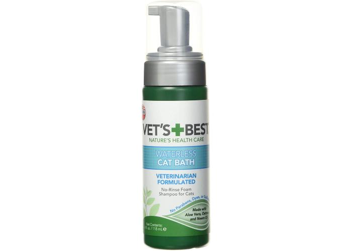 a bottle of Vet's Best waterless cat bath shampoo with a pump
