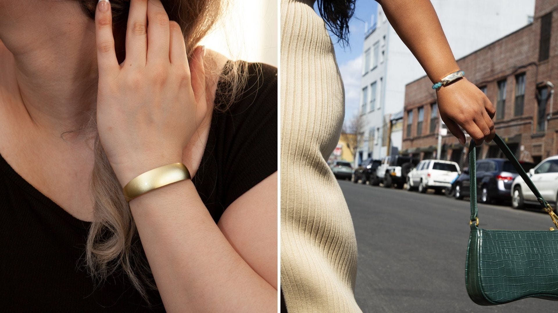 A woman wears a gold bangle and a woman holds her purse in the street