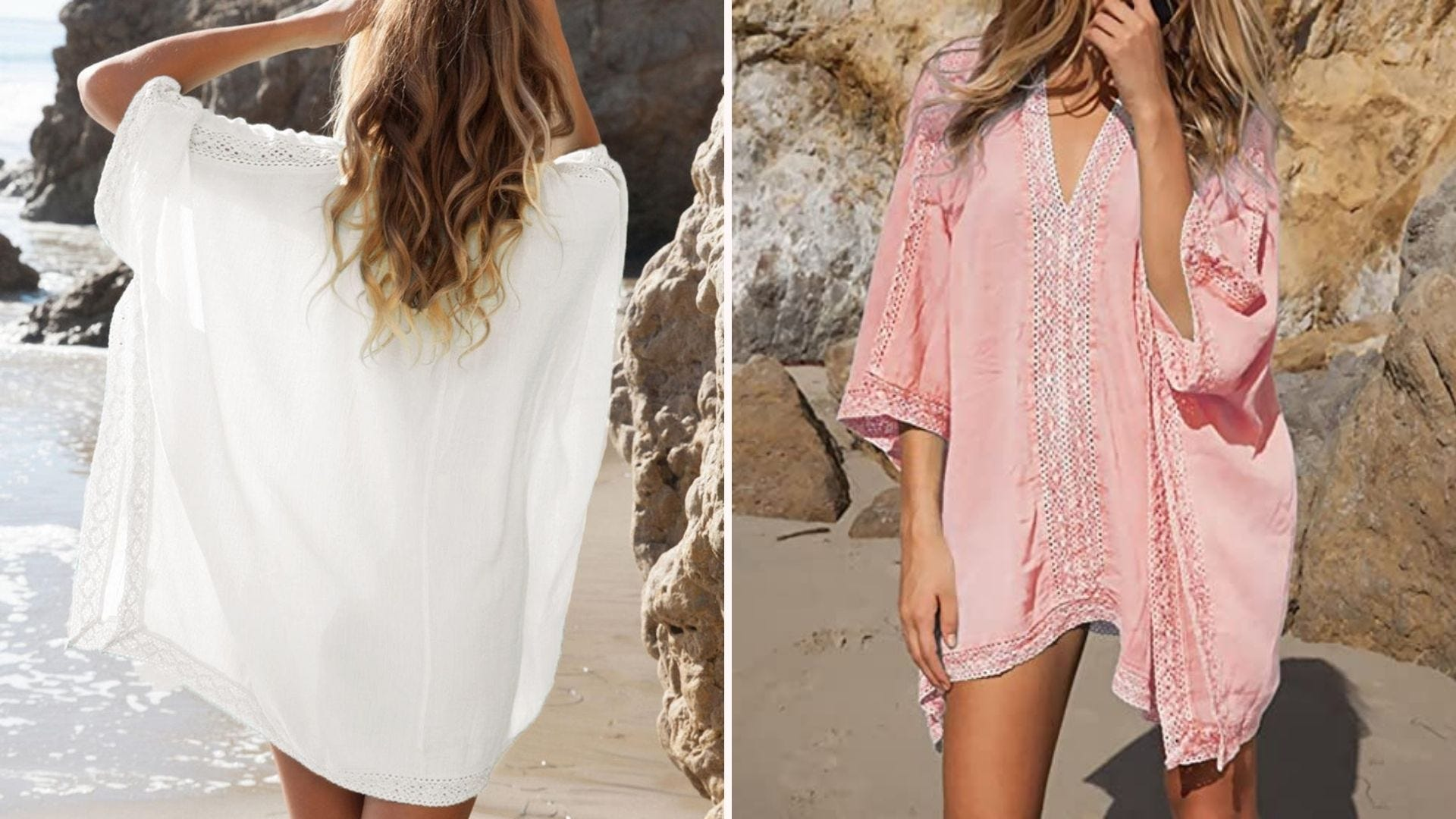 Back view of a woman in a white coverup; front view of a woman wearing a pink coverup