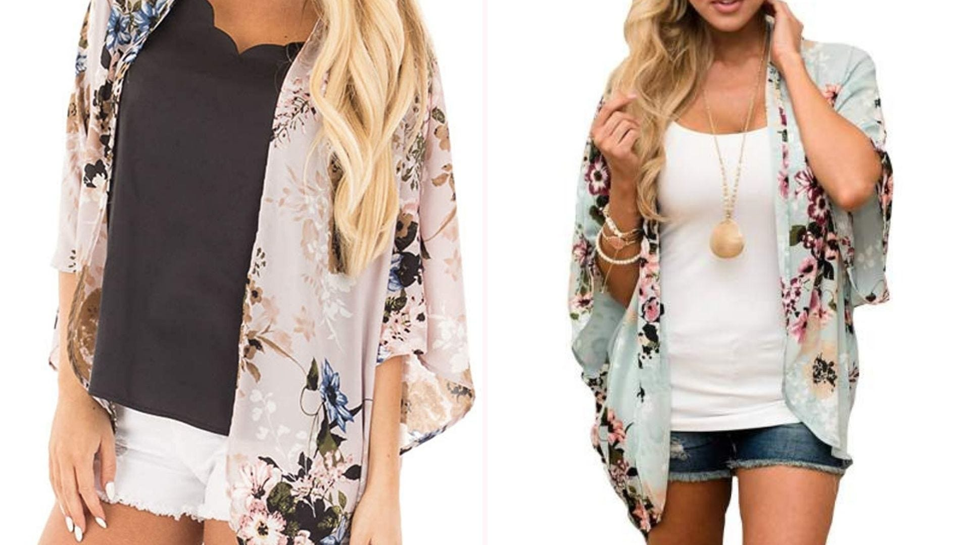 Two shoulder-down images of women wearing floral kimono-style coverups over T-shirts and shorts