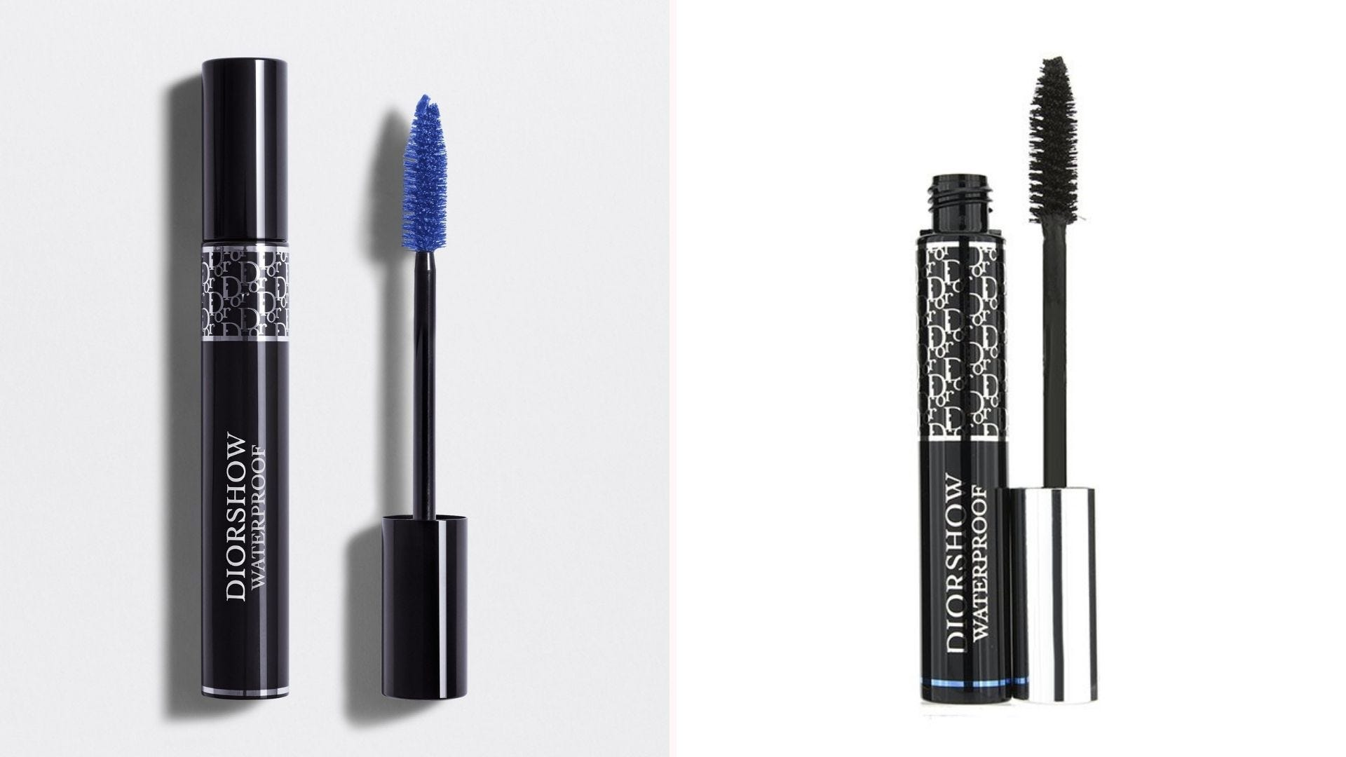 Two open tubes of mascara: one with blue on the wand, one with black
