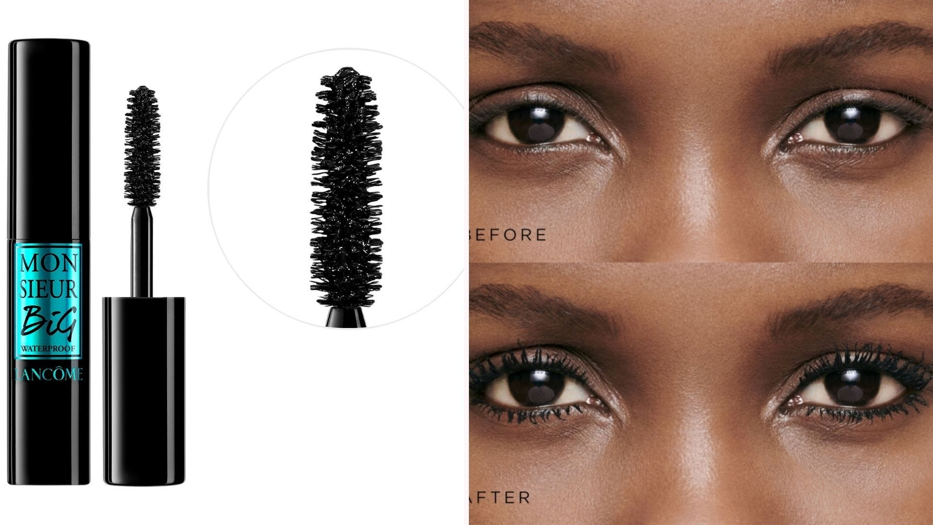 A black tube of mascara with the wand out; a before-and-after image of a woman's eyes using mascara