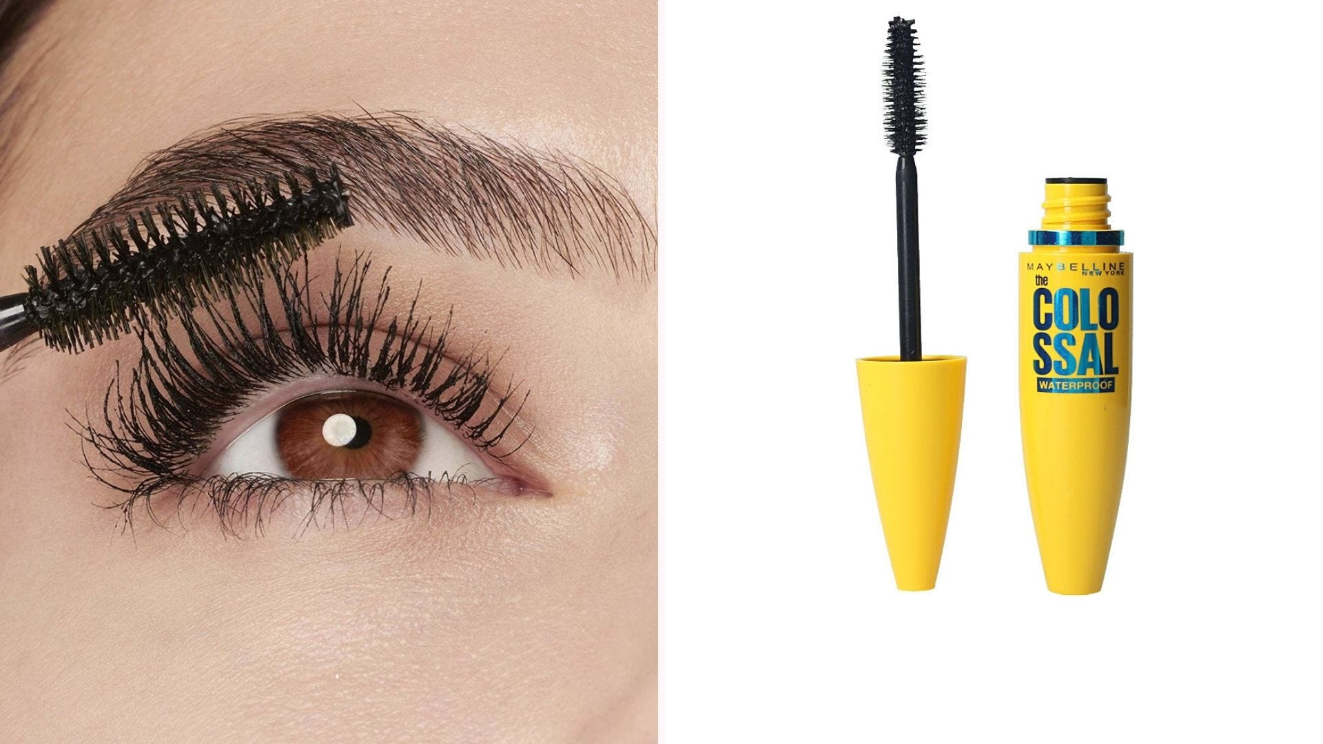A wand applying mascara to an open brown eye; a yellow tube of mascara with the wand out
