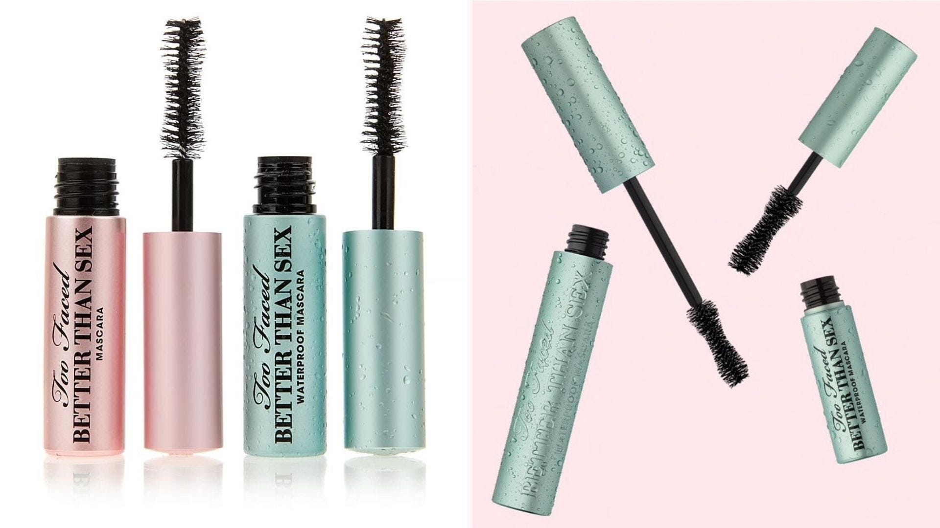 Several tubes of mascara with their wands pulled out