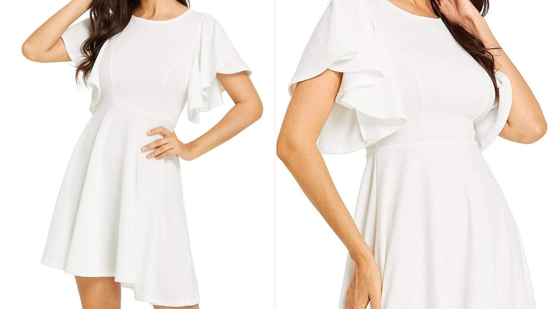 Two images of a woman wearing a short white dress with flowy sleeves