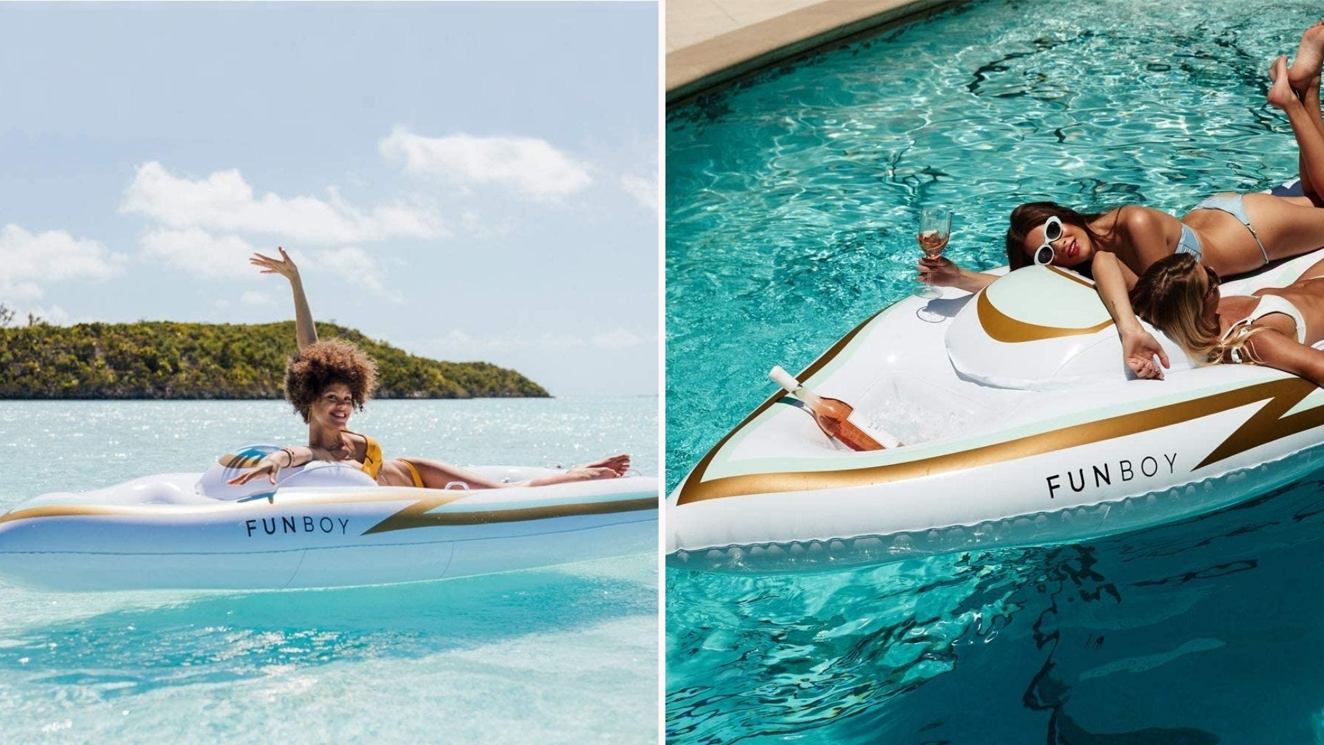 Women lounging in the water on a white yacht-shaped pool float