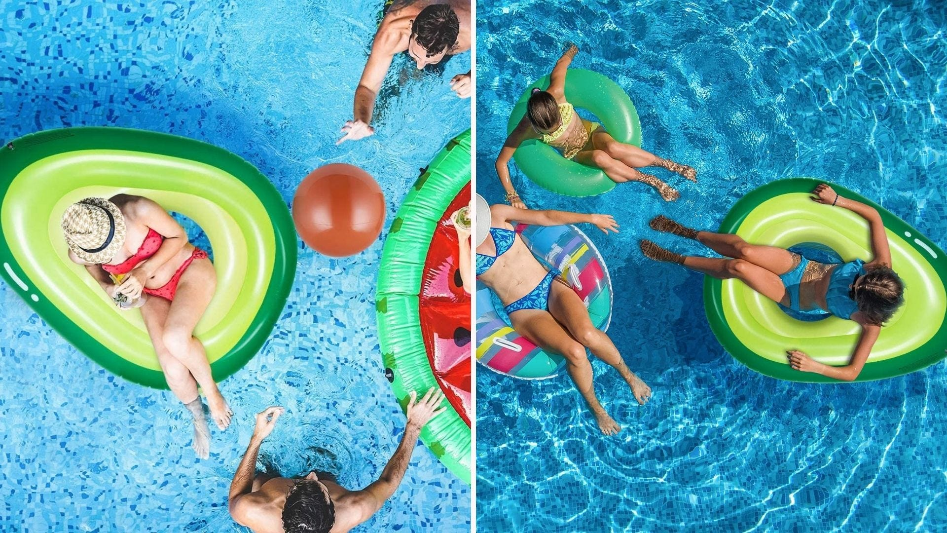 Women lounging in a pool on avocado-shaped pool floats