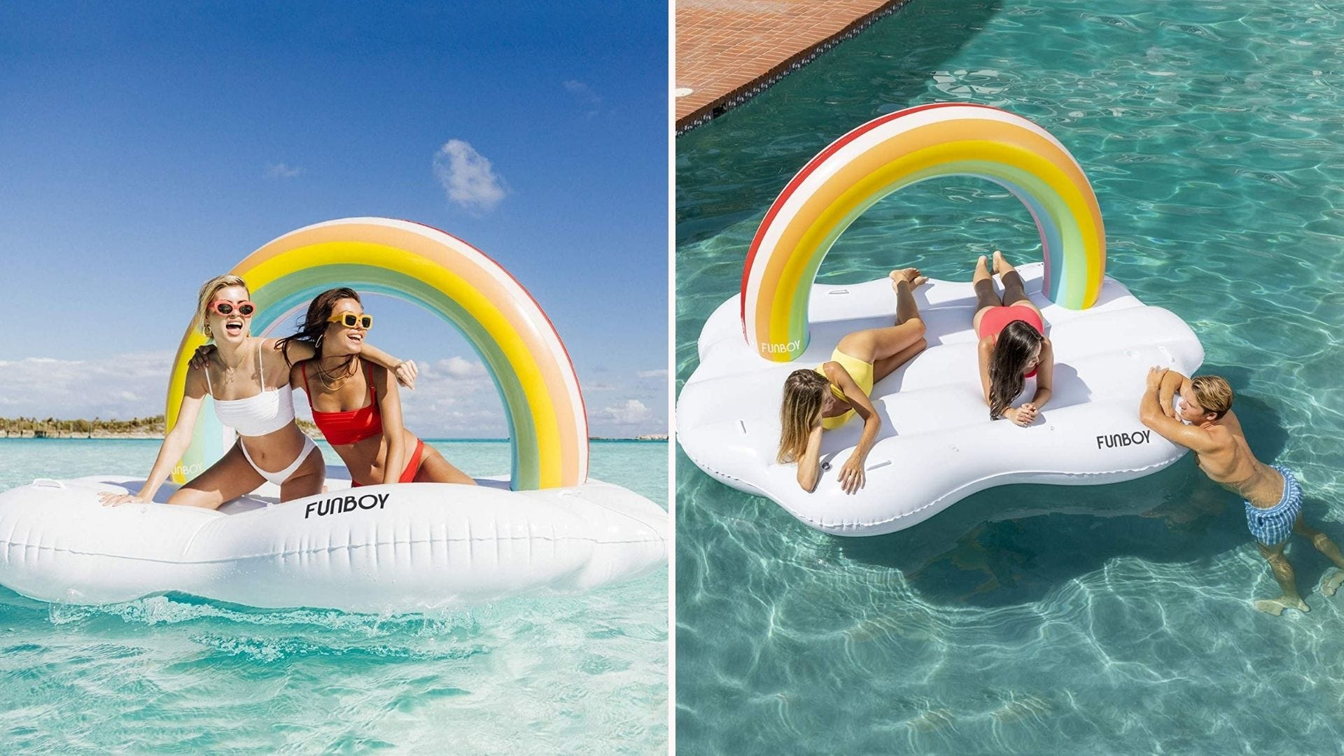 People hanging out on a cloud-shaped pool float