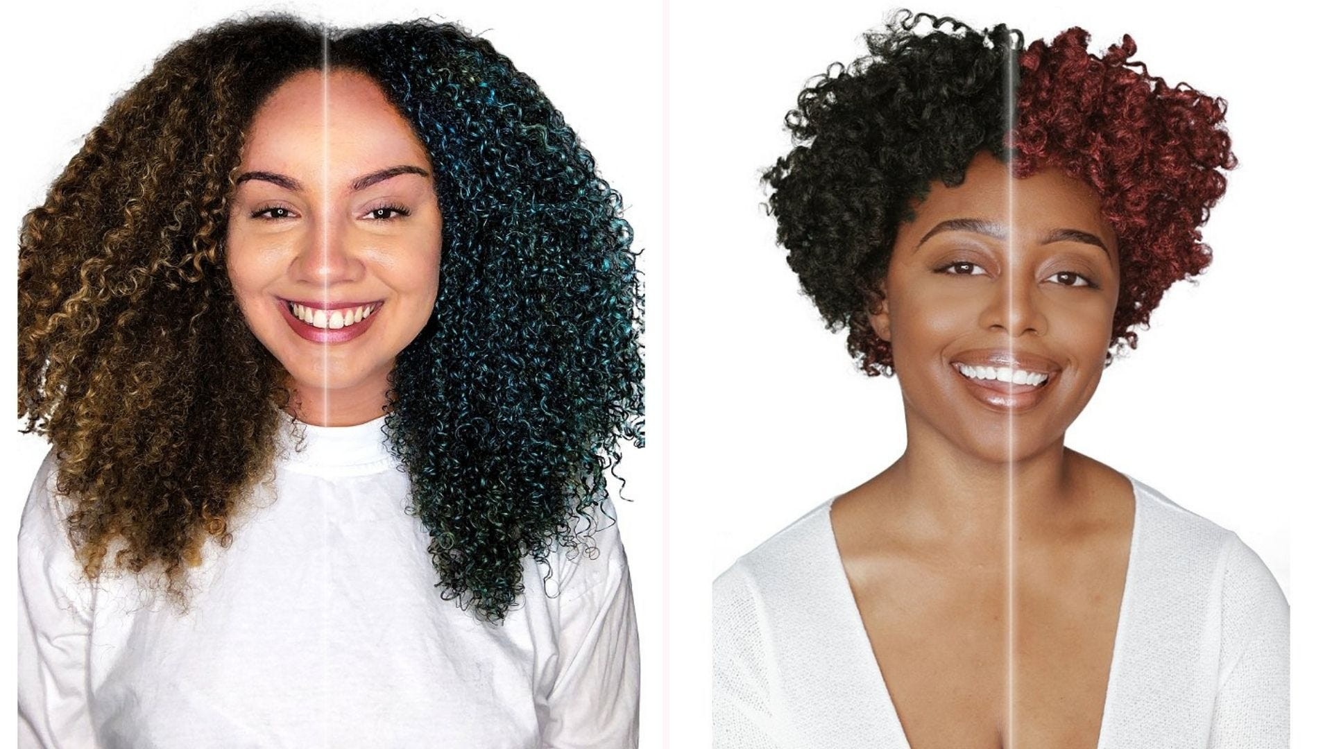 """Two women with curly hair, each with """"before"""" hair on one side and colorful """"after"""" hair on the other"""