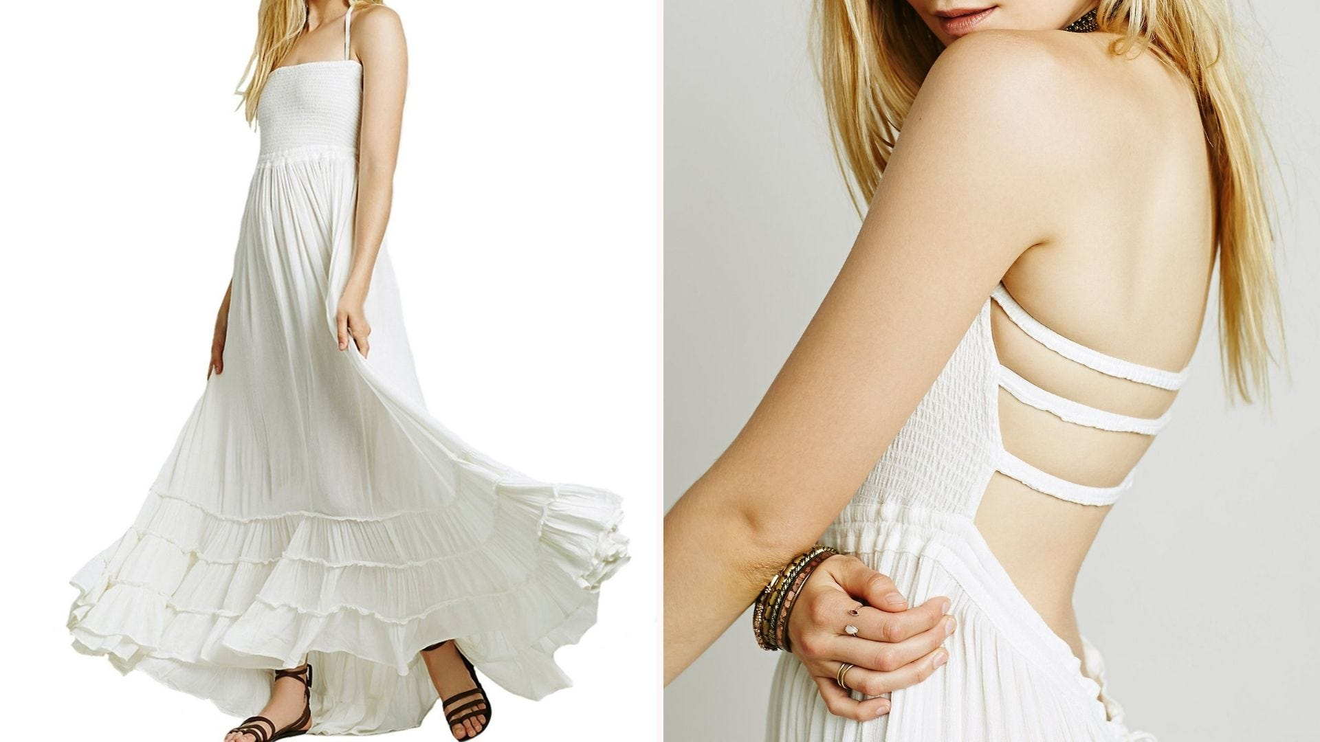 Front and side view of a woman wearing a backless white maxi dress