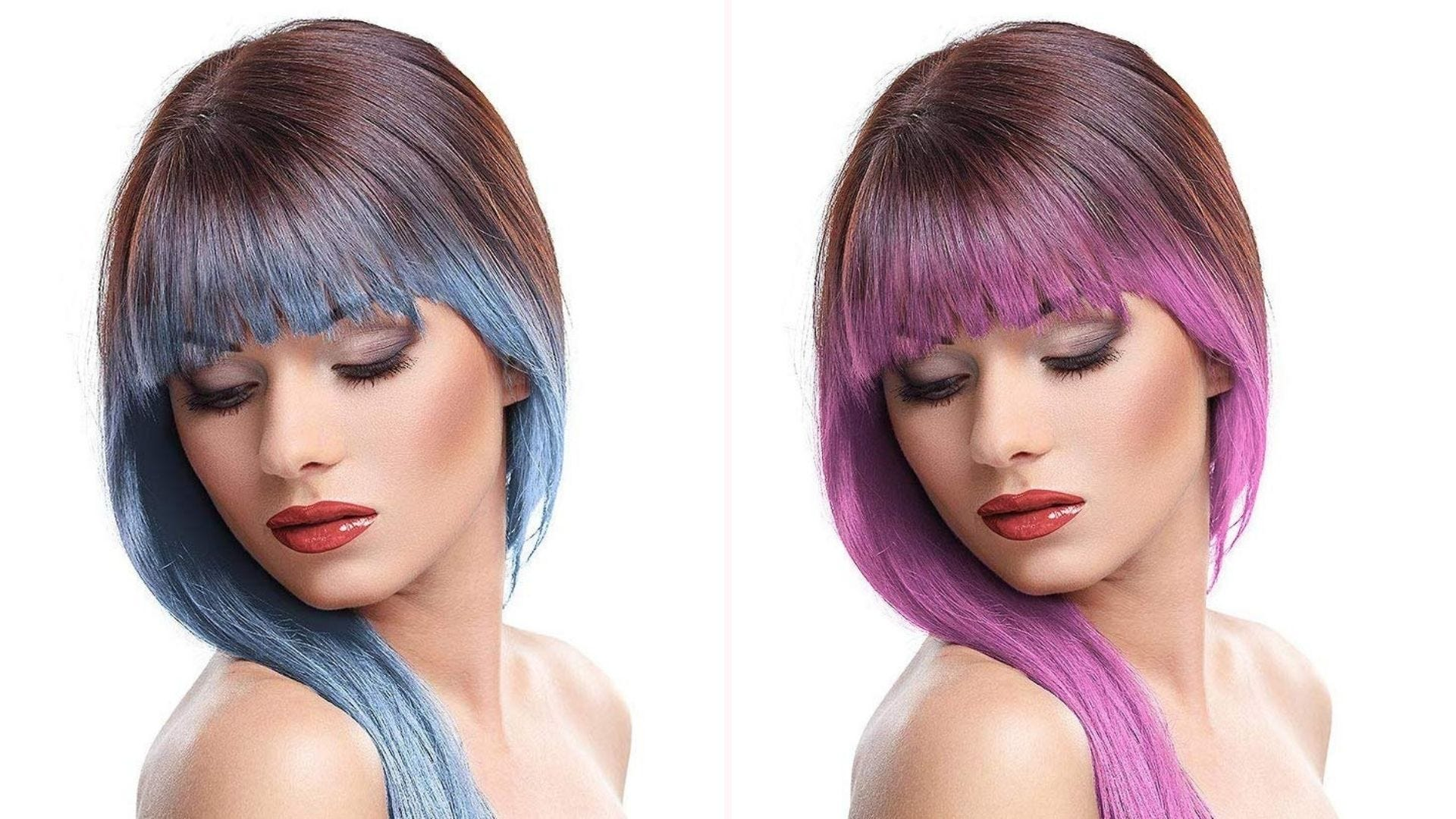 Two women with hair chalk: one with blue streaks, one with magenta streaks